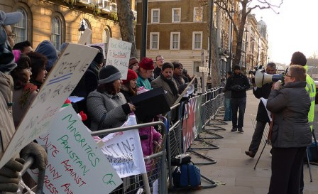 Pakistani Christians and supporters protest the use of blasphemy laws in Pakistan. London, December 2009.