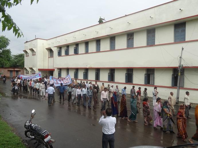 Protesters line the streets in Jhabua.