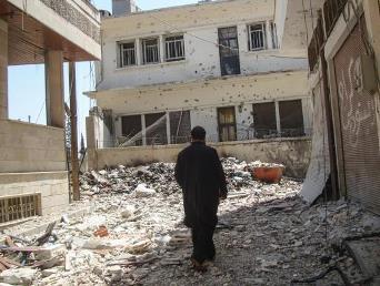 The badly damaged Christian neighborhood of Bustan Al Diwan in Homs