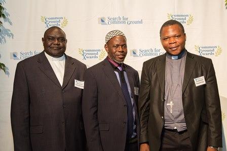 L to R: Rev. Nicolas Guérékoyamé Gbangou; Imam Omar Kobine Layama; Archbishop Dieudonné Nzapalainga; at the Nov. 13 Awards ceremony in Washington, D.C..