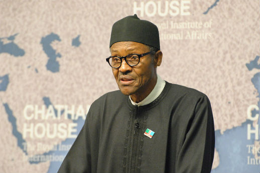 Former Gen. Muhammadu Buhari, the All Progressives Congress candidate for president, at Chatham House in London in February 2015.
