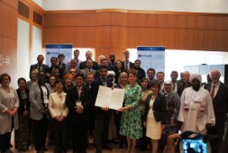 Delegates with IPPFORB chief, Baroness Berridge, holding the NY Resolution, Sept 2015