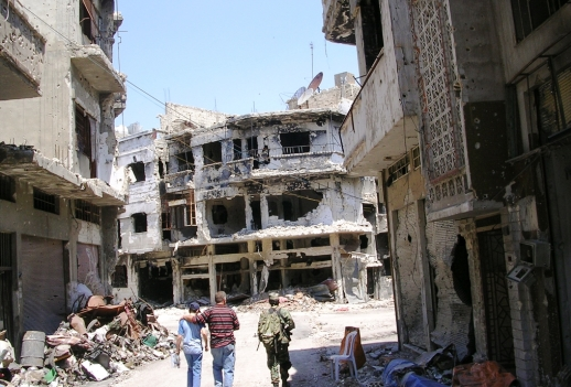 Much of the city of Homs, Syria has been destroyed by years of heavy fighting, May 2014
