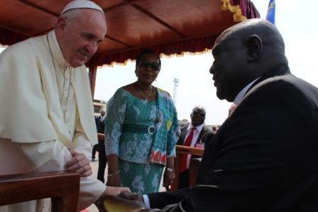 Pope Francis greets Rev. Nicolas Guérékoyamé-Gbangou, President of CAR's Evangelical Alliance.