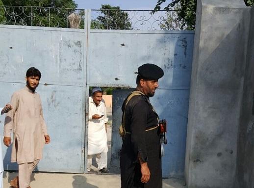 The main gate to the Warsak Dam Christian Colony, where Samuel Masih, 55, was killed.