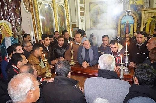 The funeral service in Mar Girgis Coptic Orthodox church, 6 Jan 2017.