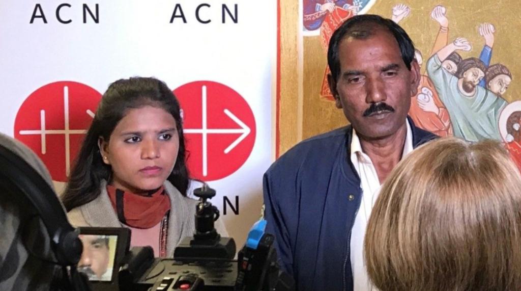 Asia Bibi's husband, Ashiq Masih, with their daughter, Eisham, at Vatican City (Asia News)
